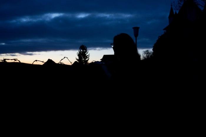 Sonnenuntergang beim Fotoshooting beim Schloss Thun