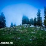 Wanderung Mittelpunkt der Schweiz in den Nebel